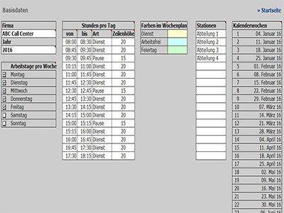 Dienstplaner - Basisdaten