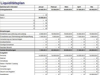 Lexware Liquiditätsplan