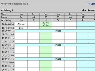 Dienstplaner - Wochenplanung